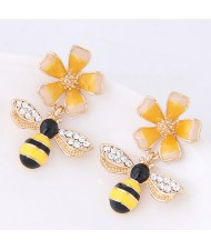 Oil-spot Glazed Adorable Bees Design High Fashion Women Earrings