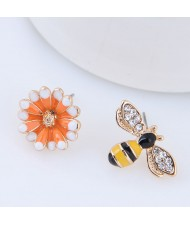 Oil-spot Glazed Flower and Bee Asymmetric High Fashion Alloy Earrings