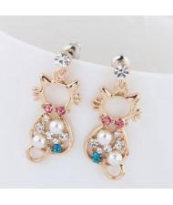 Assorted Colors Czech Rhinestone and Pearl Emebellished Cute Cat Design Korean Fashion Earrings