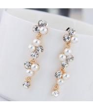 Czech Rhinestone and Pearl Embellished Shining Cluster Design Women Statement Earrings