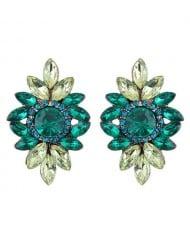 Shining Resin Gems Flower Design High Fashion Women Costume Earrings - Green
