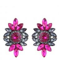 Shining Resin Gems Flower Design High Fashion Women Costume Earrings - Red