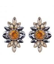 Shining Resin Gems Flower Design High Fashion Women Costume Earrings - Yellow