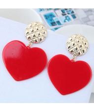 Cute Heart Design High Fashion Women Earrings - Red