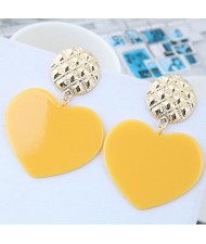 Cute Heart Design High Fashion Women Earrings - Yellow