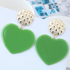 Cute Heart Design High Fashion Women Earrings - Green