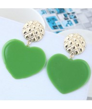 Cute Heart Design High Fashion Women Earrings - Green