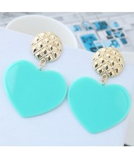 Cute Heart Design High Fashion Women Earrings - Blue