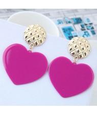 Cute Heart Design High Fashion Women Earrings - Purple