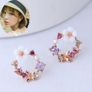 Flower and Butterfly Spring Fashion Rhinestone Garland Women Earrings