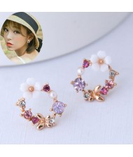 Flower and Butterfly Spring Fashion Rhinestone Garland Women Earrings