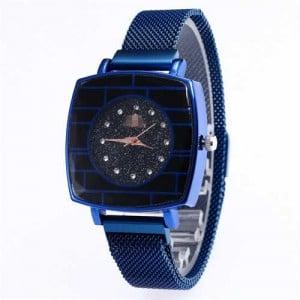 Shining Rhinestone Rimmed Square Design Wrist Watch - Blue