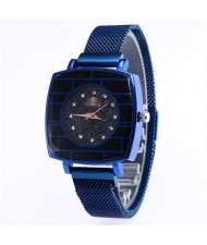 Shining Rhinestone Rimmed Square Design Wrist Watch - Blue