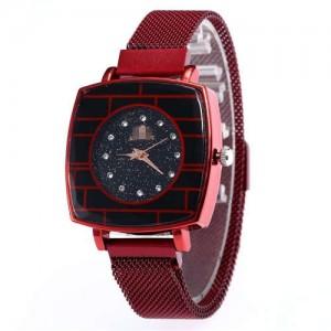 Shining Rhinestone Rimmed Square Design Wrist Watch - Red