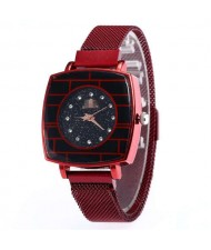 Shining Rhinestone Rimmed Square Design Wrist Watch - Red
