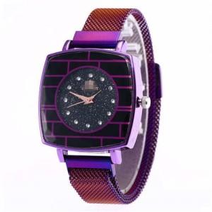 Shining Rhinestone Rimmed Square Design Wrist Watch - Purple