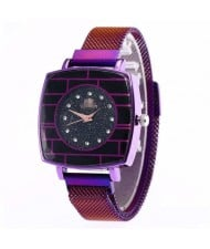 Shining Rhinestone Rimmed Square Design Wrist Watch - Purple
