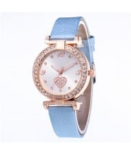 Rhinestone Surround Hollow-out Heart Design  Leather Wrist Watch