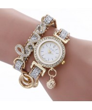 6 Colors Available Rhinestone Inlaid Love Theme High Fashion Women Bracelet Style Wrist Watch