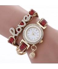6 Colors Available Rhinestone Inlaid Love Theme High Fashion Women Bracelet Style Wrist Watch