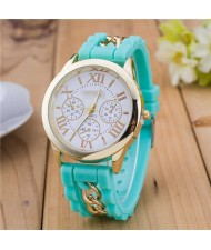 Simple Design Chain Decorated Women Wrist Watch - Green