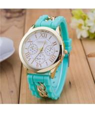 Simple Design Chain Decorated Women Wrist Watch - Green
