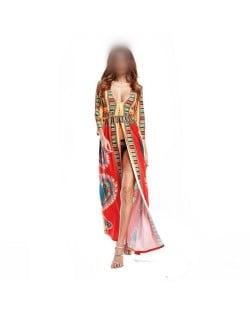 Bohemian High Fashion Totem Printing Women Dress - Red