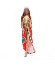 Bohemian High Fashion Totem Printing Women Dress - Red