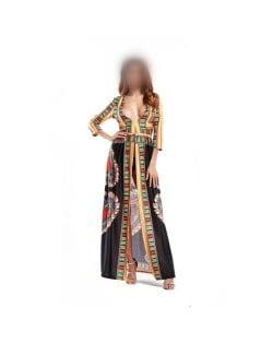Bohemian High Fashion Totem Printing Women Dress - Black