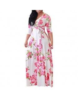V-neck Fashion Floral Printing Women Dress - White