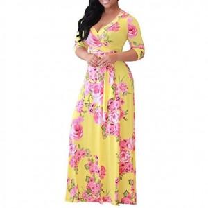 V-neck Fashion Floral Printing Women Dress - Yellow