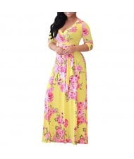 V-neck Fashion Floral Printing Women Dress - Yellow