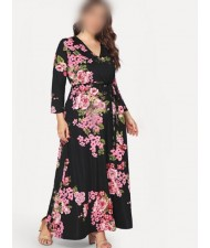 V-neck Fashion Floral Printing Women Dress - Black