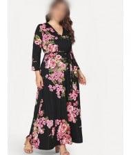 V-neck Fashion Floral Printing Women Dress - Black