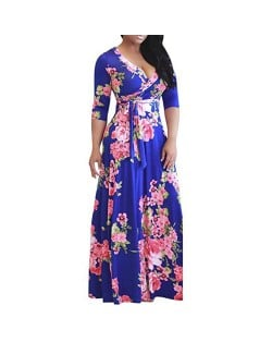 V-neck Fashion Floral Printing Women Dress - Royal Blue
