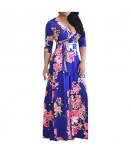 V-neck Fashion Floral Printing Women Dress - Royal Blue
