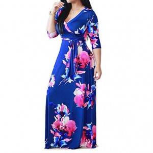V-neck Fashion Floral Printing Women Dress - Blue