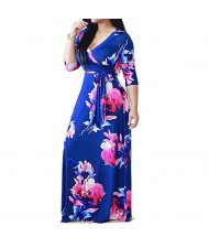 V-neck Fashion Floral Printing Women Dress - Blue