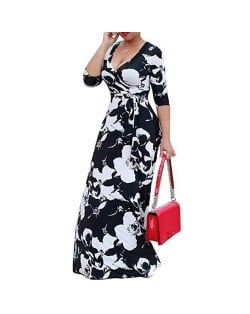 V-neck Fashion Floral Printing Women Dress - Black and White