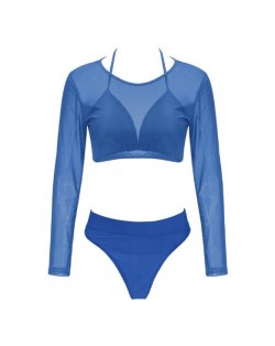 Solid Color High Fashion Women Bikini Swimwear with Long Sleeves Top Set - Blue