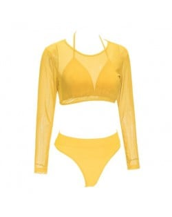 Solid Color High Fashion Women Bikini Swimwear with Long Sleeves Top Set - Yellow