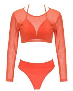 Solid Color High Fashion Women Bikini Swimwear with Long Sleeves Top Set - Orange