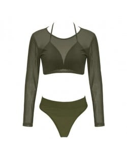 Solid Color High Fashion Women Bikini Swimwear with Long Sleeves Top Set - Green