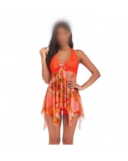 Floral Printing Dress High Fashion Women Swimwear - Orange
