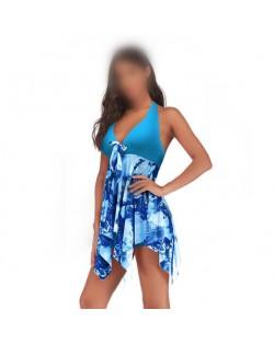 Floral Printing Dress High Fashion Women Swimwear - Sky Blue