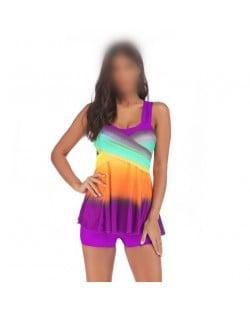 Rainbow Inspired Dress Style High Fashion Women Swimwear - Purple
