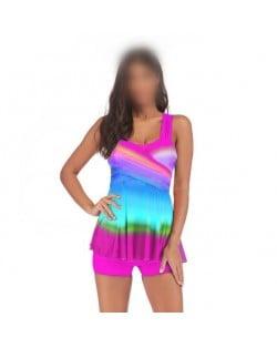 Rainbow Inspired Dress Style High Fashion Women Swimwear - Rose