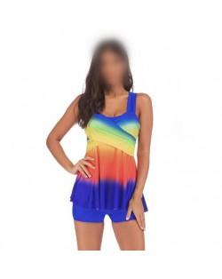 Rainbow Inspired Dress Style High Fashion Women Swimwear - Royal Blue