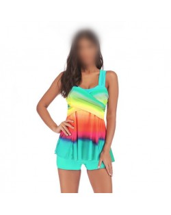 Rainbow Inspired Dress Style High Fashion Women Swimwear - Teal