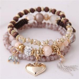 Golden Peach Heart Pendant Sweet Triple Layers High Fashion Bracelet - Khaki